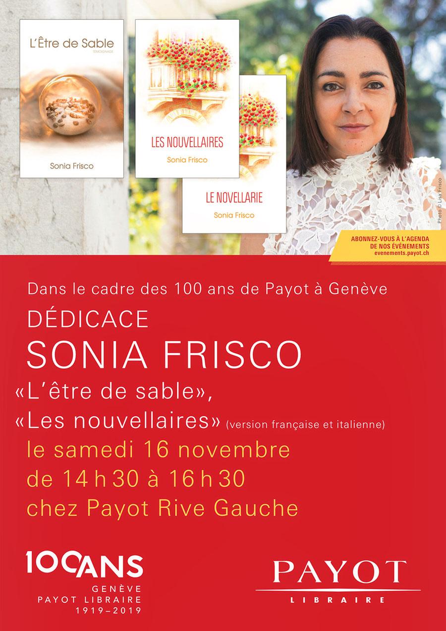 Librairie Payot Genève en Novembre 2019 avec Sonia Frisco